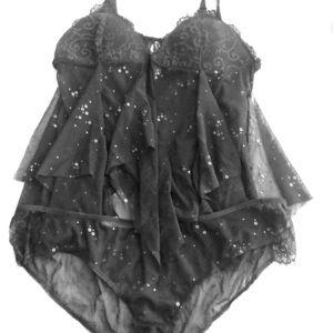 Victoria's Secret black glitter babydoll lingerie.